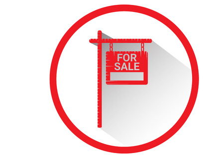 house for sale: Home For Sale Real Estate Sign  . House Real Estate   design. long Shadow icon