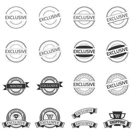 exclusive collection: exclusive icon set . concept  shopping , vintage retro badge label   design , collection of premium quality