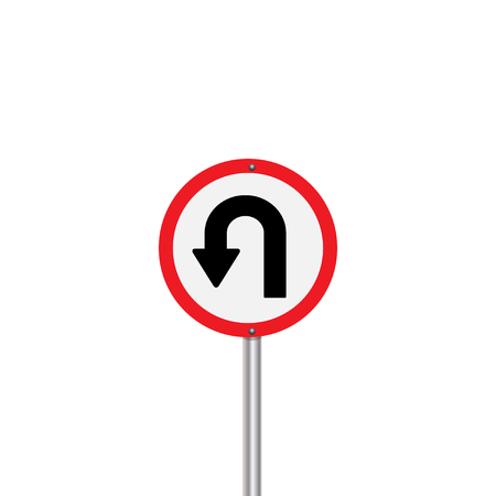 u turn sign: Prohibition Sign U-turn . Vector illustrations