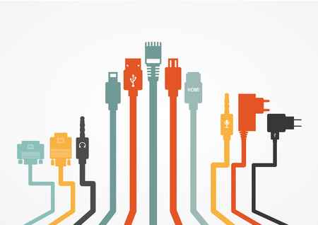 Plug Wire Cable Computer colorful vector illustration