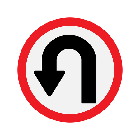 uturn: Sign U-turn . illustration