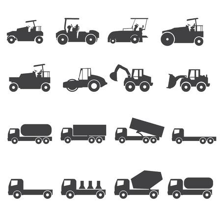 haulage: Truck icon set. Vector silhouettes Illustration