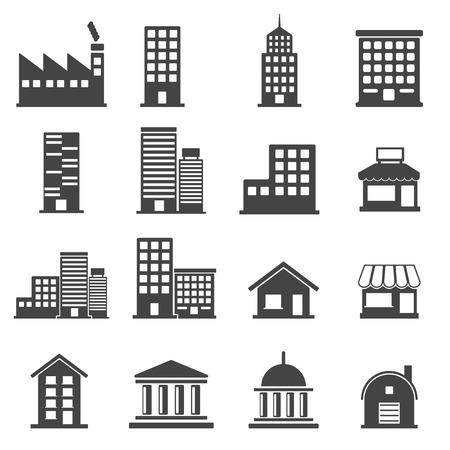 locales comerciales: Iconos de construcción. ilustración vectorial Vectores