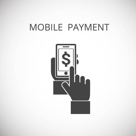 payer: mobile payment icon , hand hold phone , press payer, vector illustration Illustration
