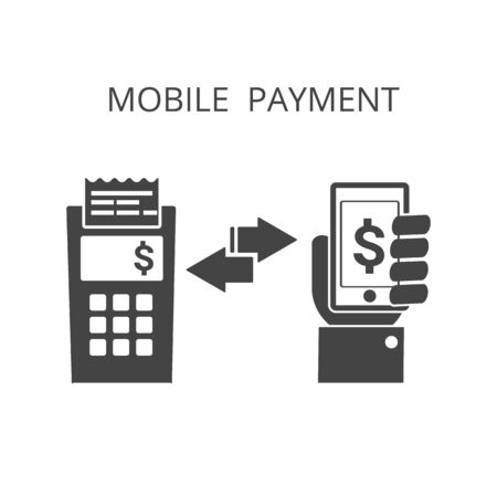 hold: mobile payment icon , hand hold phone  ,  exchange money , vector illustration Illustration