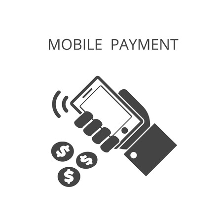 hold: mobile payment icon , hand hold phone , vector illustration