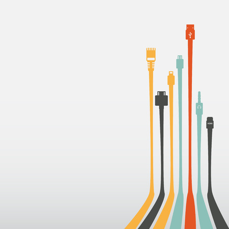 Plug Wire Cable Computer colorful abstract wire vector illustration