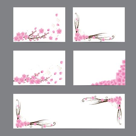 Flor de cerezo, flores de Sakura, tarjetas de invitación