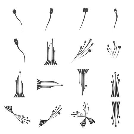 hdmi: Plug Wire Cable Computer  icon set  vector illustration Illustration