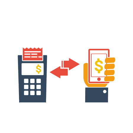 contactless: mobile payment icon , hand hold phone , flat design , vector illustration