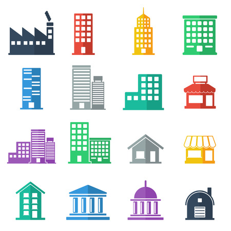 building icons .  building flat design.  vector illustration Illusztráció