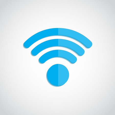 WIFI  blue Icon   .WIFI Flat design Shadow . WIFI Icon .  Vector illustration
