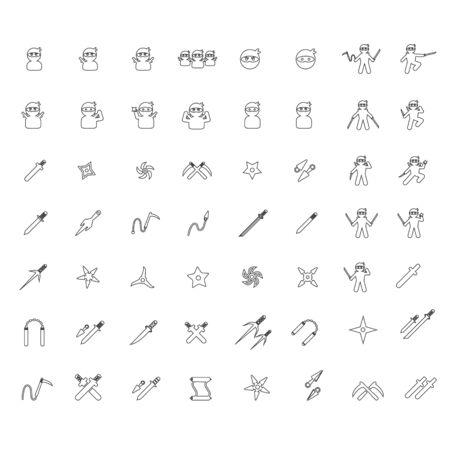 mortal: ninja icon line  set