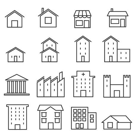 家行のアイコン、建物および家行のアイコン ベクトル