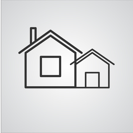 twin house: House Line Icon  , Buildings and  Twin house Line Icon Vector