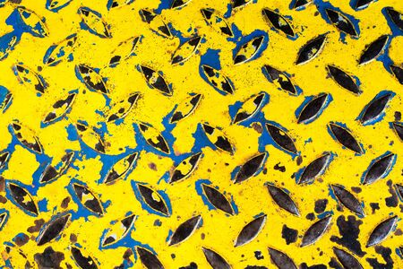 diamond plate: Diamond steel plate background, Rusted diamond steel plate yellow, old diamond steel plate texture, Yellow Blue Background of old metal diamond plate, rust steel plate