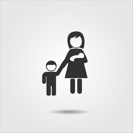 baby and mother: mother icon, baby mother vector icon Stock Photo