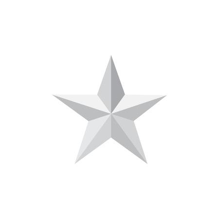 Silver Star, Clasic Stern-Symbol, Silver Star Long Shadow Vektor-Illustration