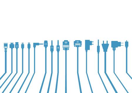 ethernet: Plug Wire Cable Computer bluel vector illustration Illustration
