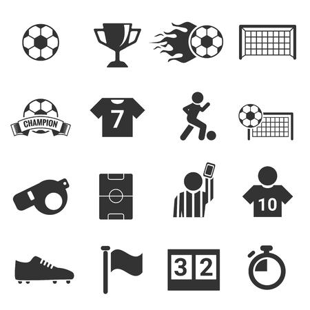 football silhouette: Soccer Icon set football silhouette vector set Stock Photo