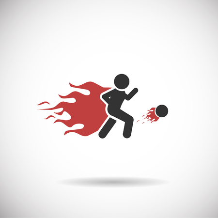 goal cage: Soccer Icon - Player football fire silhouette vector Illustration