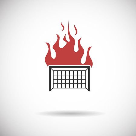 goal cage: Soccer Icon - goal football fire silhouette vector