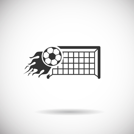 goal cage: Soccer Icon - football fire goal  silhouette vector