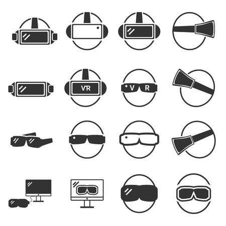 Virtual  Reality Icon -  VR silhouette vector set Illusztráció