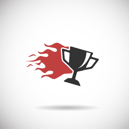 goal cage: Soccer Icon - trophy fire silhouette vector