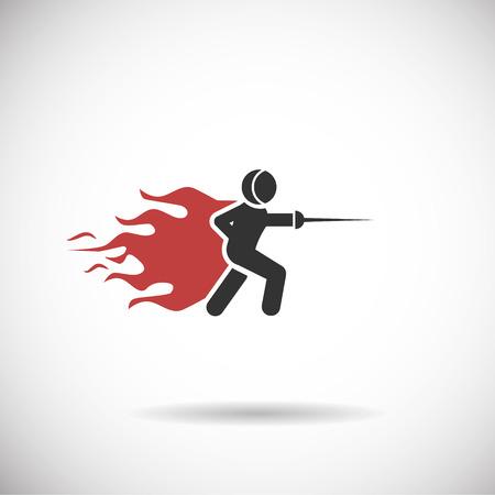 fencing: fencing icon - fencing sport fire silhouette vector