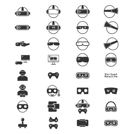 仮想現実のアイコン - VR アイコン シルエット ベクトル イラスト セット