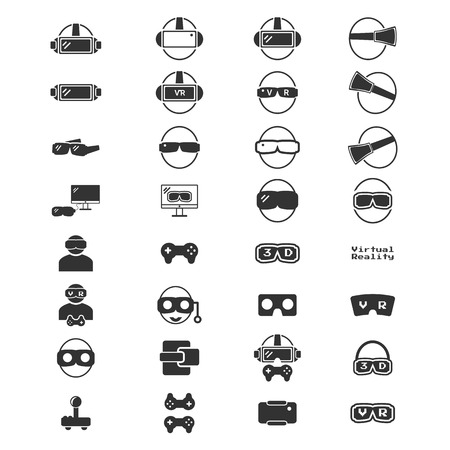 Virtual Reality Icon - VR icon silhouette vector  illustration set Illusztráció