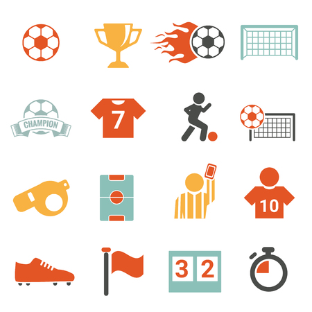 soccer pass: Soccer Icon set football colorful  vector set