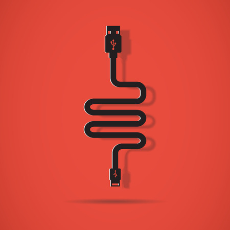 ethernet cable: Plug Wire Cable USB Computer vector illustration , USB Cable Flat design Illustration