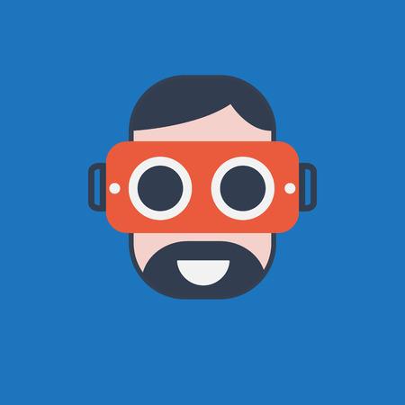 Virtual Reality Flat design icoon kleur - VR vector illustratie