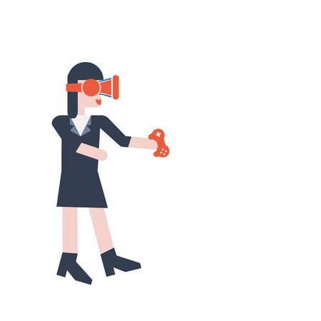 girl wearing glasses: Virtual reality glasses icon ,  girl when wearing virtual reality goggles , VR Flat design color vector illustration Illustration