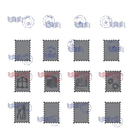 postmark: stamps  postmark   vintage postage stamps vector  illustration
