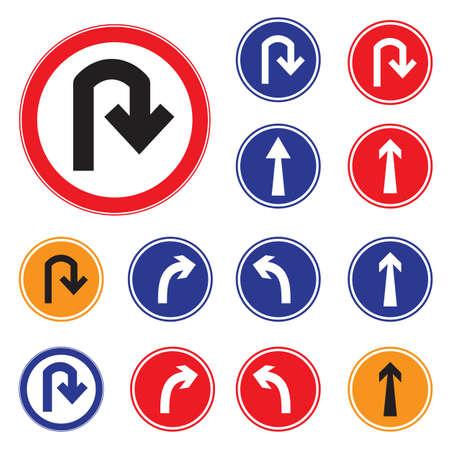 Warning  U-turn  Sign . Vector illustrations