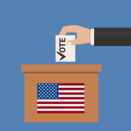 elect: Ballot Box  Person Casting Vote ,  Hand Putting Paper in the ballot box , Blank Voting Slip Vector Illustration