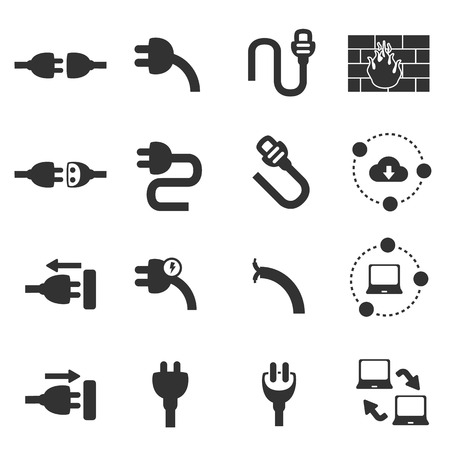 suspension bridge: cable plug network icons vector illustration