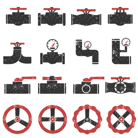 Valve Gas Pipe Taps Icon Set , Pipe grunge textures old vintage Vector Illustration