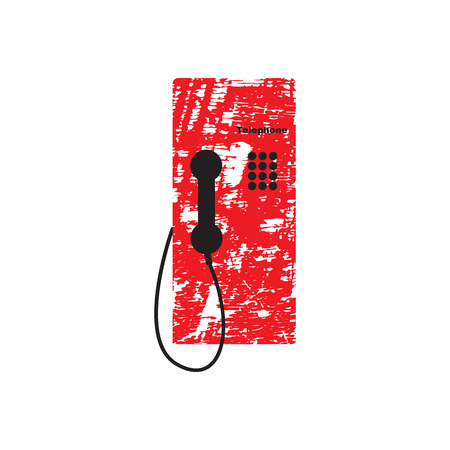 payphone: Public telephone white background Illustration