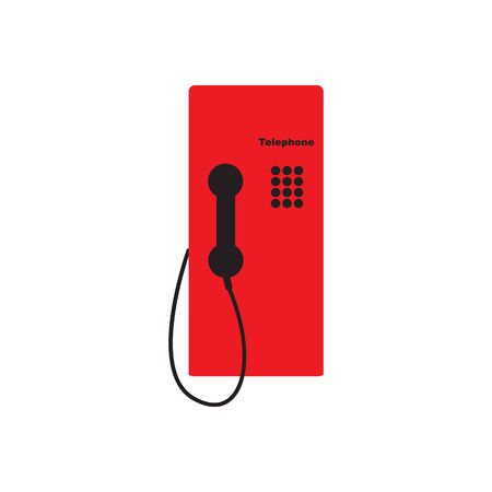 red telephone box: Public telephone white background Illustration