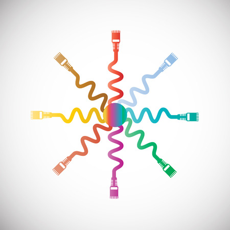lan: LAN Wire Cable Computercolorful vector illustration
