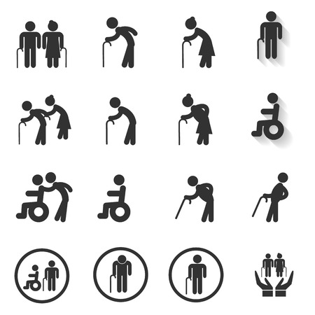 Ouderling Icon, Oudere persoon set Vector Illustratie