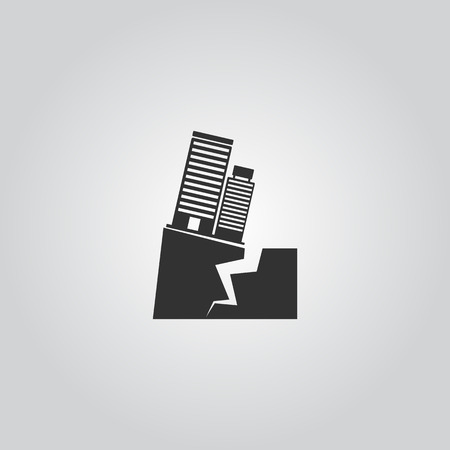 subsidence: Earthquake Icon Illustration