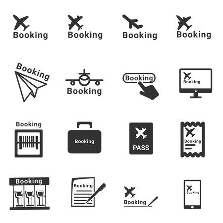 booking: plane booking icon  - vector icon set