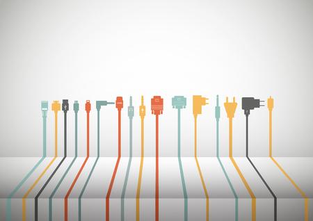 hdmi: Plug Wire Cable Computer colorful vector illustration
