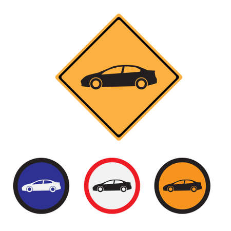 Car Warning Sign on white Vettoriali