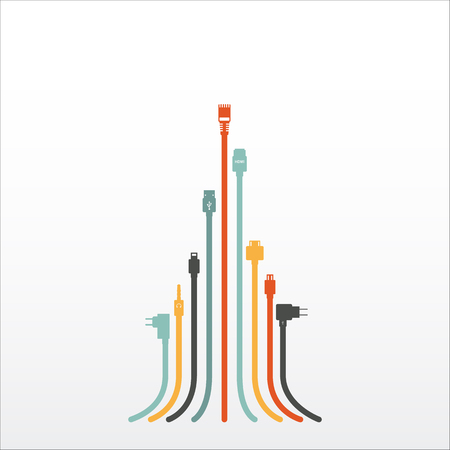 hdmi: Plug Wire Cable Computer colorful abstract wire vector illustration
